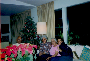 Joseph L. & Delilah W. Pierce With Family. (Left To Right) Joseph, Mediel Spence, Educator, Delilah, and Wanda Spence, Actress, 1987.